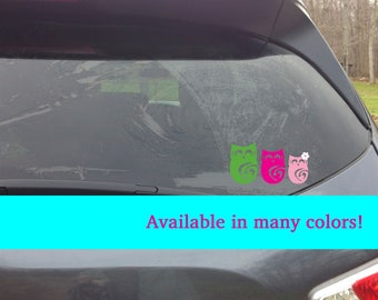 Owl Family Car Decal, stick figure family, owl decal, personalized