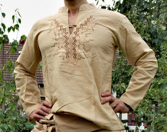 Mens Design 100% Cotton Shirt IBIZA original design, embroidered