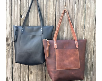 ZIPPERED LARGE TOTE Black or Brown • Leather Everyday Bag