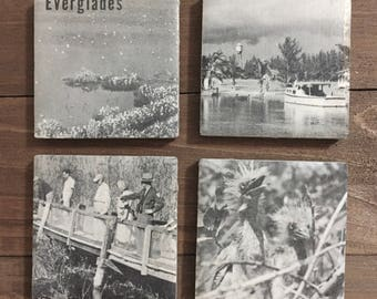 Vintage 1950s Book Magnets, Everglades National Park #2, Set of 4