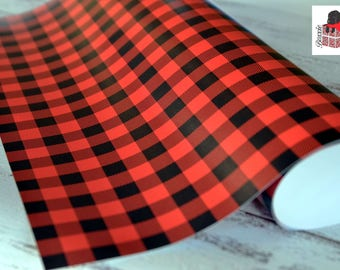 Red buffalo plaid wrapping paper sheets lumberjack Christmas gift wrap GW1801