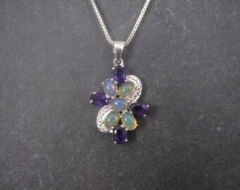 Vintage Sterling Amethyst Opal Pendant