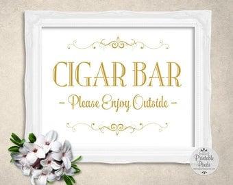 Cigar Bar Sign, Gold Matte Lettering, Printable, Wedding Sign, Party (#CG11G)
