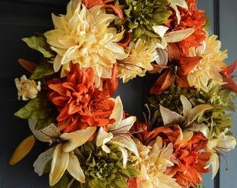 Summer Wreaths |  Dahlia & Lily Wreath | Wreath | Front Door Wreaths | Outdoor Wreath | Door Decorations