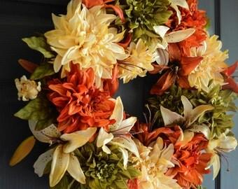 Fall Wreaths |  Dahlia & Lily Wreath | Autumn Wreath | Front Door Wreaths | Outdoor Wreath | Fall Decorations