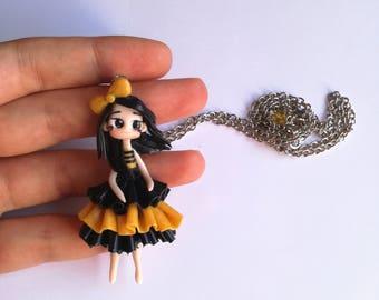 Polymer clay chibi doll kawaii black and yellow necklace, necklace kawaii doll perfect birthday gift christmas gift, handmade doll