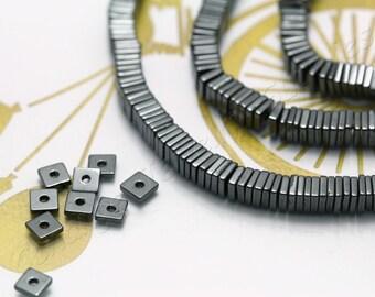Square Hematite, (4mm x 1mm) Square Flat Hematite Beads, 1 Strand (200 pcs) Black Tiny Hematite Beads, Natural Hematite Beads / HBY-067