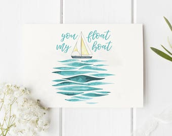 You Float My Boat Valentine Folded Card | Funny, Love, Holiday, Cute, Mermaid, Ocean, Vintage, Boho Greeting Stationery, family