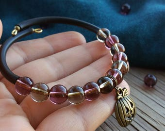 Halloween bracelet Cuff bracelet Charm bracelet Pumpkin jewelry Halloween gift Purple brown beaded bracelet Women bracelet Halloween jewelry