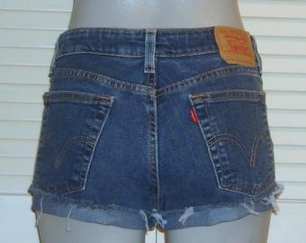 Levis Blue Denim Stretch Mid Rise Cut Off Festival Jean Shorts~5~