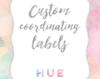 """custom digital labels sheet made to coordinate with any invitation from hue invitations, each label is 2.5""""x3.5"""" or pick your own size"""