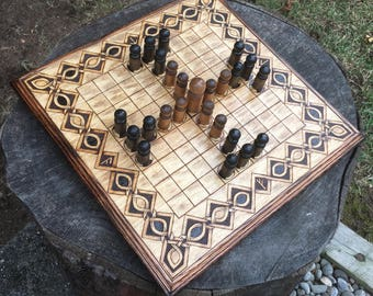 "Hnefatafl Game: ""Lapland Tablut"" variant, Ancient Finnish Strategic Board Game - handcrafted & customizable - Viking Tafl - MADE TO ORDER"