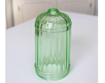Vaseline Glass Bullet Ribbed Sugar Shaker Uranium Glass Depression Era 1930s