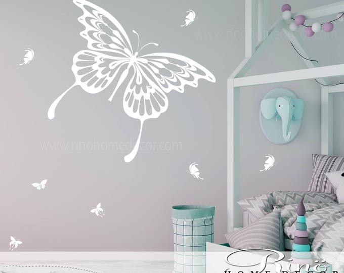 Butterfly Wall Decal 25 butterflies Mural Vinyl sticker no edges look like paint in your wall