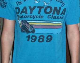Vintage Thin Daytona Bike week 1989 Screened T-Shirt