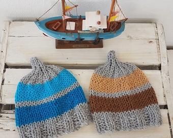 RTS Twin Baby boy Beanies , Striped baby elf  baby beanies, twin hats, newborn twin boy hats,  twin elf hats, UK seller , baby boy gift.