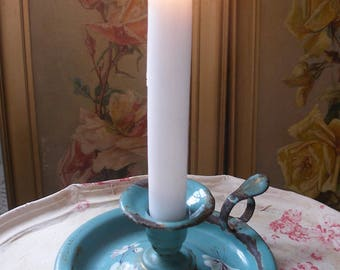Antique French enamel candle stick, chamber stick, candle holder