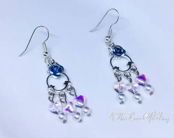 Petite Aqua Rose, Czech Crystal Heart and Pearls Chandelier Earrings in bright silver plated pewter
