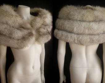 Norwegian Blue FOX FUR CAPELET White Cape Stole Wrap Shrug Bolero Coat Jacket ~ Winter Wedding ~ Bridal ~ Brown Cream ~ Smaller size