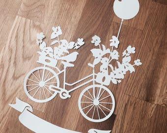 Vintage Bike x 2 SVG PDF Design - Papercutting Vinyl Template  - bicycle papercut - floral papercut - vintage SVG - Flower Basket