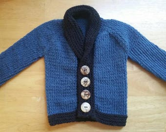 Shawl collar baby sweater, baby shower gift, blue infant sweater, ready to ship baby