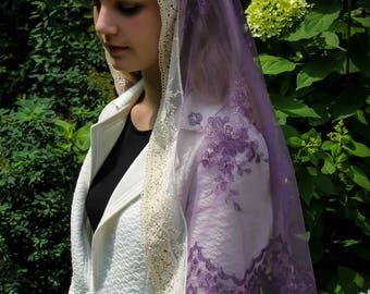 Evintage Veils~ Embroidered Lavender or Sage Mist Lace Mantilla Chapel Veil  Mantilla Shawl Wrap