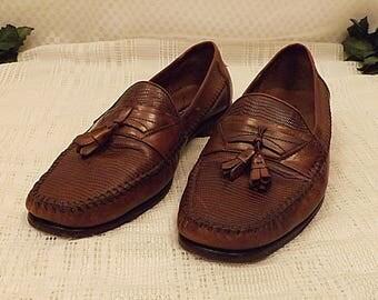 Bostonian Men's Imit Lizard Skin Leather Tassel Loafers Size 9 . 5