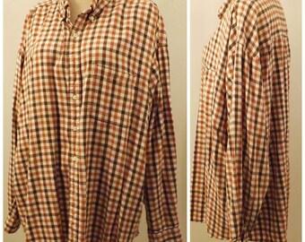 Vintage Sun River Button Down Brown Flannel Shirt  Size XXL