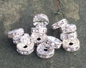 12 Crystal spacer beads, silver colour rhinestone spacers, 10mm diameter spacer beads, sparkly spacers, shiny silver spacers, DIY jewelry