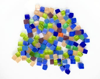 Summer Rain Square/Squircle 40gr/80gr Handmade Glass Tiles for Mosaic Decoration, Murano Lampwork & Jewellery (size: 3-5mm)