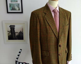 Blazer Emidio Tucci with elbow patches, vintage 1980's. Made in Spain. Sike UK 42.