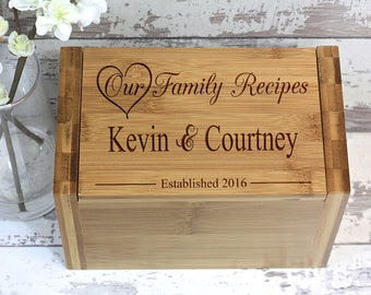 Wood Recipe Box, Recipe Box, Meal Planner, Personalized Gifts, Wedding Shower Gift, Recipe Box Wood, Recipe Organizer, Wedding Gift, Gift