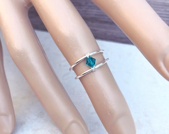 Turquoise Ring, Beach Jewlery, Toe Ring, Midi Ring, Knuckle Ring, Boho, Bohemian, Statement, Sterling Silver Ring, Stacking Ring, Girls Ring