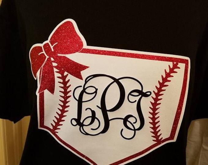 Baseball Mom Home Plate T-Shirt with Monogram and Bow - Great for Baseball Mom, Baseball Sister, Baseball Girlfriend etc. (G2000) #1301