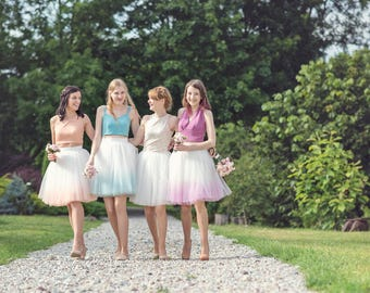 Blushing Ballerina: hand dyed ombre tulle skirt / ladies tulle skirt / tulle bridesmaid skirt / gradient skirt / adult tulle skirt