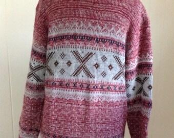Vintage Men's Sweater, 70s Crew Neck Sweater Burgandy and Gray Acrylic Pullover, Retro Ski Sweater Size XL
