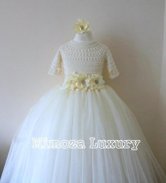Ivory Flower girl dress, 3/4 sleeve Ivory tulle dress, long sleeve wedding dress, bridesmaid dress princess dress, ivory tulle flower dress