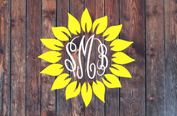 sunflower monogram decal      custom decal sunflower monogram