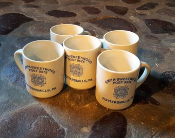 Vintage VFW Coffee Mugs - Set of 5 - Potters Mills, Pennsylvania Veterans of Foreign Wars Post No. 9575