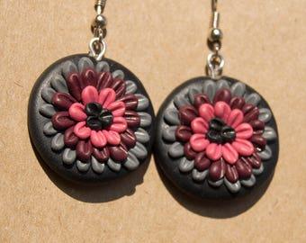 Polymer clay earrings, barroque earrings, gothic earrings, dark complemets, pink earrings, elegant, floral earrings