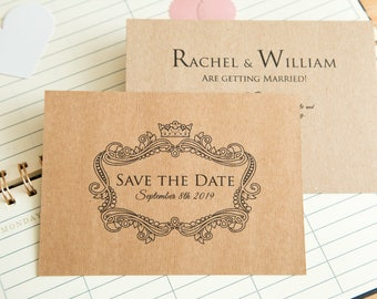 Kraft Save the date wedding invitations. Kraft Invite postcards. Double sided with optional envelopes. Elegant kraft wedding stationary. UK