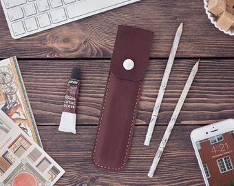 Leather Pencil Case. Handmade Dark brown leather pencase. Dark brown color.