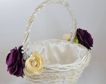 White Wicker Flower Girl Basket - Plum Cream and Ivory