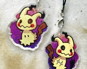 "Mimikyu - Pokemon 1.5"" Acrylic Charm - Keychain or Cell Phone Strap"