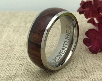 8mm Wood Ring, Personalized Engraved Titanium Ring with Santos Rosewood Inlay  Ring, Titanium Wedding Ring,Father's Day Gift