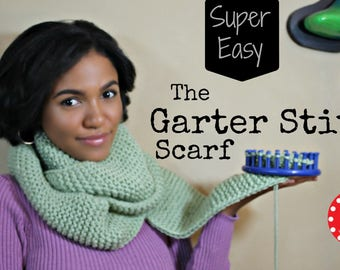 Loom Knit PATTERN Garter Stitch Scarf Beginner Easy with Step by Step Video Tutorial by LoomaHat