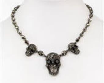 Skull Rhinestone Necklace with Gunmetal Chain