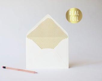 gold foil skinny chevron lined envelopes (sets of 10)  // gold foil modern envelope liners lined envelope