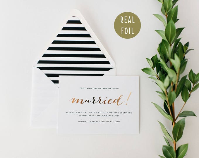 cassie gold foil save the date invitations  (sets of 10)  //  gold foil black white stripes modern calligraphy custom luxe romantic invite