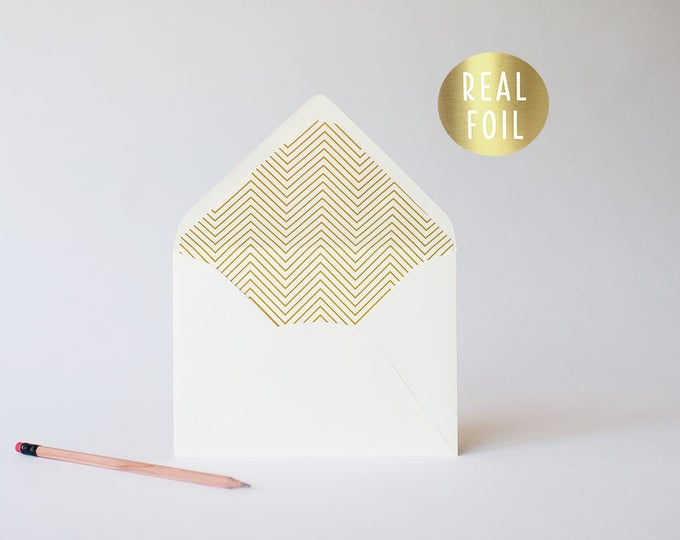 gold foil skinny chevron lined envelopes (sets of 10)  // gold foil modern envelope liners lined envelope